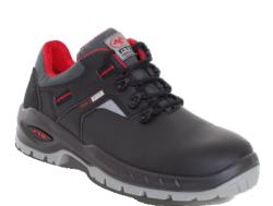 Zapatos de seguridad S3 Fabricado con piel flor lisa negra de alta resistencia con un TRATAMIENTO HIDROFUGADO. Su interior está confeccionado con tejido que proporciona una mejor transpiración, dispone de una plantilla interior anatómica