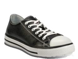 Zapatillas de seguridad estilo urban-casual. Para la fabricación de este zapato se ha utilizado una piel flor negra TOP LEATHER. Su interior de tela no tejida. Diispone de una plantilla interior anatómica y antiestática ERGO-FIT.