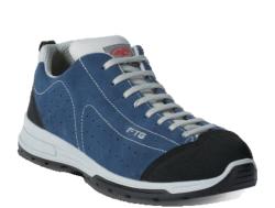 Zapatillas de seguridad deportivas Fabricado con una piel agamuada azul, perforada en los laterales para una mayor ventilación, reforzada en puntera y talón con un material anti-abrasivo. En su interior está equipado un tejido transpirable
