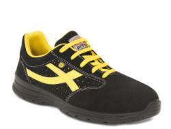 Zapatillas de seguridad deportivas Fabricado con microfibra negra. Su interior confeccionado de un tejido transpirable. Dispone de una plantilla interior anti-estática, anti-bacteriana, extraible, lavable y pre-formada