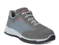 Zapatillas de seguridad deportivas Fabricado con una piel agamuada gris combinado con textil transpirable y con insertos reflectantes. Su interior confeccionado de un tejido transpirable. Dispone de una plantilla interior anti-estática, anti-bacteriana,