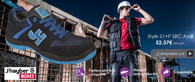 J'Hayber - Zapatillas deportivas de trabajo cómodas J'Hayber Style S1+P en azul con puntera plástica