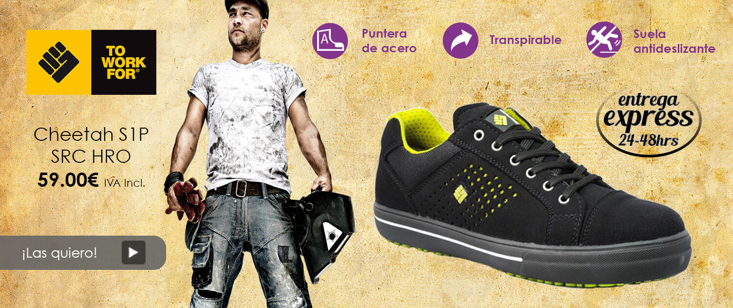 To Work For - Cheetah S1P SRC zapatilla deportiva con protección, flexible, transpirable y con suela exterior antideslizante