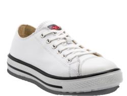 Zapatillas de seguridad deportivas de estilo urban casual, fabricadas en Microfibra blanca. Dispone de una plantilla interior anatómica y antiestática ERGO-FIT. zapatillas de seguridad deportivas de color blanco ideales para pintores.