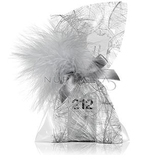 Saquito Platino con plumas color plata