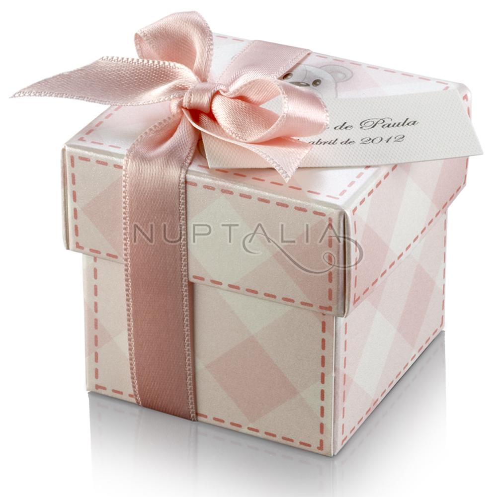 Favorito Bomboniera. Scatola quadrata orsetto rosa con fiocco in raso DZ34