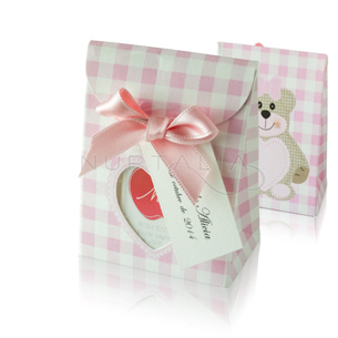 Caja bolsa cuadritos rosa elegante detalles de bautizo comunión obsequios invitados cajitas envoltorios regalitos baratos