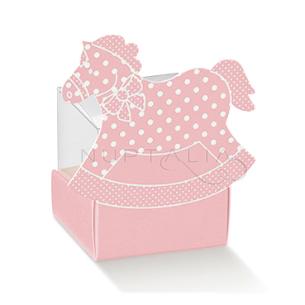 Caja caballito rosa elegante detalles de bautizo comunión obsequios invitados cajitas envoltorios regalitos baratos