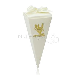 Caja cono elegante detalles de bautizo comunión obsequios invitados cajitas envoltorios regalitos baratos