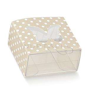 Caja cuadrada beig con topos corazón elegante detalles de boda obsequios invitados cajitas envoltorios regalitos baratos