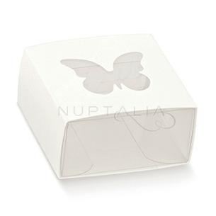 Caja cuadrada blanca mariposa elegante detalles de boda obsequios invitados cajitas envoltorios regalitos baratos