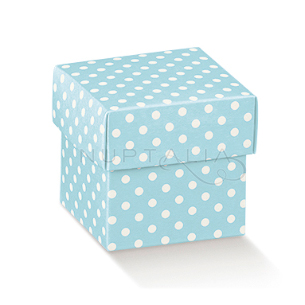 Caja cuadrada celeste con topos elegante detalles de bautizo comunión obsequios invitados cajitas envoltorios regalitos baratos