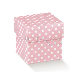 Petite boite carrée rose pois souvenir baptême communion