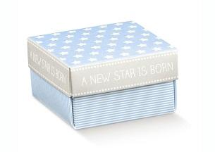 Petite boite baptême étoiles bleu