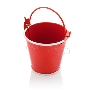Mini cubo metálico rojo detalles boda decoración mesa