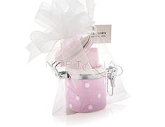 Tarrito de cerámica rosa a topos blancos