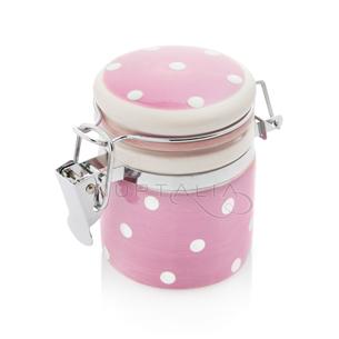 Mini tarro tarrito rosa topos blancos detalles boda decoración mesa