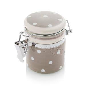 Mini tarro tarrito gris topos blancos detalles boda decoración mesa