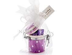 Tarrito de cerámica lila a topos blancos