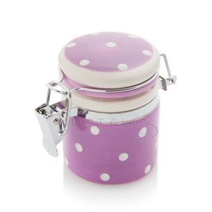 Mini tarro tarrito lila topos blancos detalles boda decoración mesa