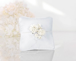 cojín anillos novios flores blanco boda alianzas flores porta anillos almohada ceremonia