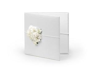 caja blanca flores para CD fotografia musica regalo novios boda comunión eventos