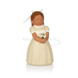 Figura pastel comunión niña con flores terracota regalo recordatorio comunión cake topper