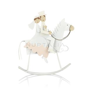 Figura pastel novios a caballo decoración pastel boda recordatorio boda regalo cake topper