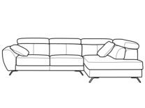 Módulo rincón derecha y módulo con brazo izquierda, vistos de frente