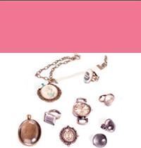 Colgantes, pendientes y relojes con cabuchón de cristal.