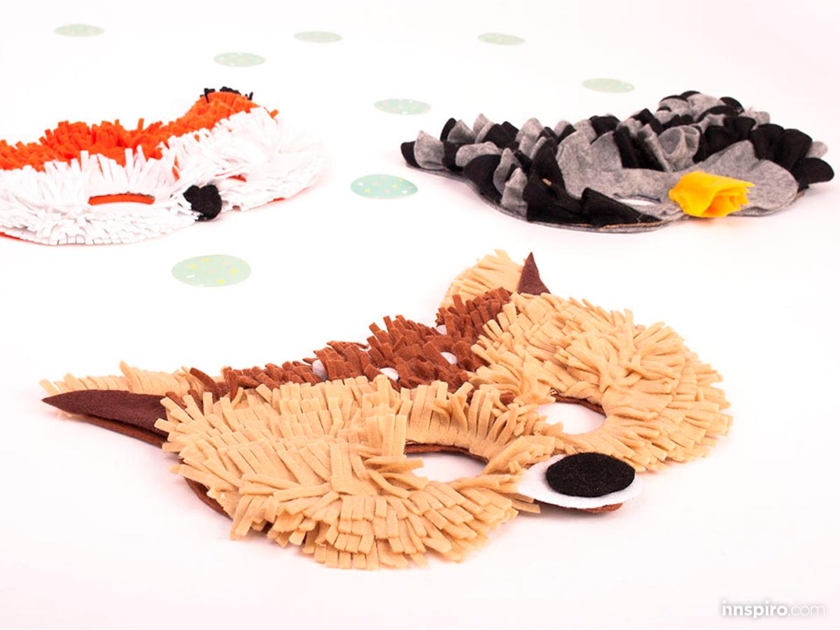 Máscara de carnaval de fieltro de divertidos animales