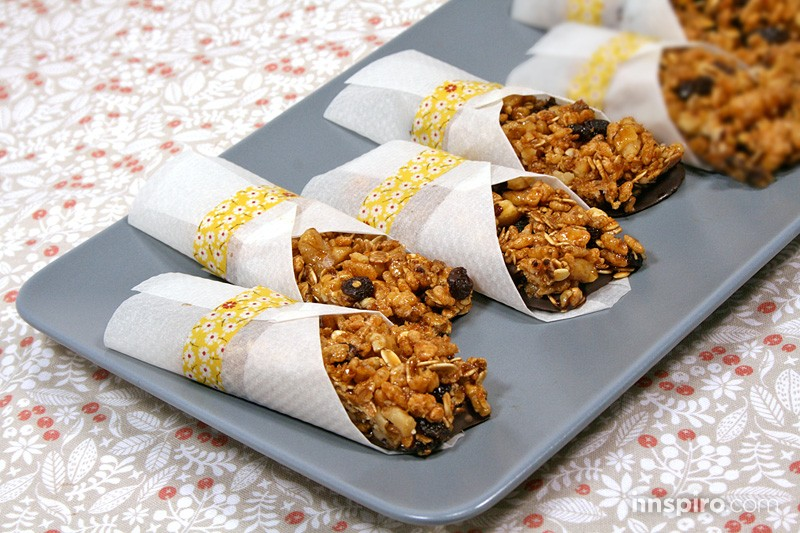 Barritas de cereales con frutos secos y chocolate