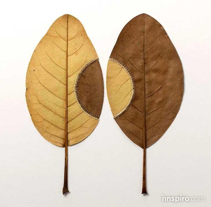 Esculturas de hojas y macramé