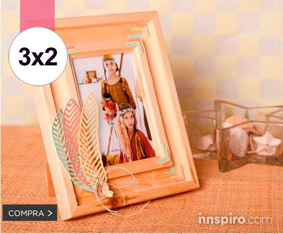 3x2 marcos madera natural