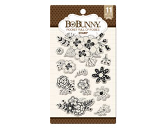 12105078 Set sellos acrilicos flores naturales 11x19cm BoBunny