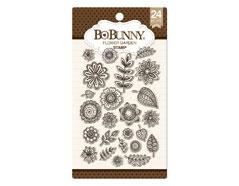 12105287 Set sellos acrilicos flores de jardin 11x19cm BoBunny