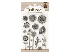 12105441 Set sellos acrilicos flores garabato 11x19cm BoBunny