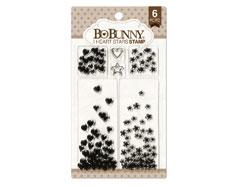 12105444 Set sellos acrilicos estrellas y corazones 11x19cm BoBunny