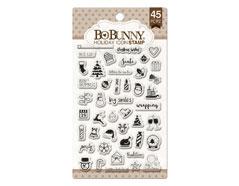 12105775 Set sellos acrilicos iconos Navidad 11x19cm BoBunny