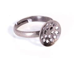 A12501 12501 Anillo metalico y ajustable con base circular con agujeros diam 12mm plateado envejecido para coser Innspiro