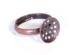 12701 A12701 Anillo metalico y ajustable con base circular con agujeros diam 12mm cobrizo envejecido para coser Innspiro