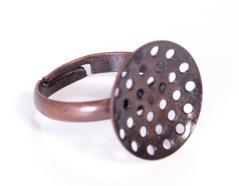 A12703 12703 Anillo metalico y ajustable con base circular con diam 16mm cobrizo envejecido para coser Innspiro