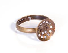 A12901 12901 Anillo metalico y ajustable con base circular con agujeros diam 12mm dorado envejecido para coser Innspiro