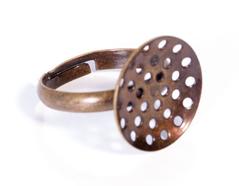 A12903 12903 Anillo metalico y ajustable con base circular con diam 16mm dorado envejecido para coser Innspiro