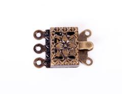 A12917 12917 Cierre metalico collar cuadrado dorado envejecido Innspiro