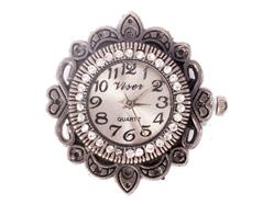 14062-AS Reloj metalico con cuentas y filigrana plateado envejecido Innspiro
