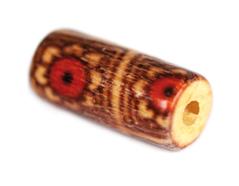 14592 Z14592 Cuenta madera cilindro decorada con flores rojas Innspiro