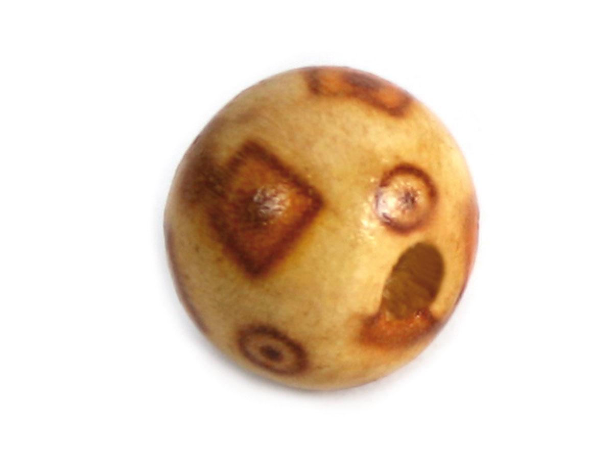 Z14596 14596 Cuenta madera bola decorada con cuadrados Innspiro