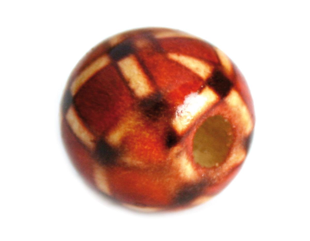 Z14598 14598 Cuenta madera bola decorada roja con cuadrados Innspiro