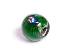15211 Z15211 Cuenta de vidrio bola con dibujo transparente verde Innspiro